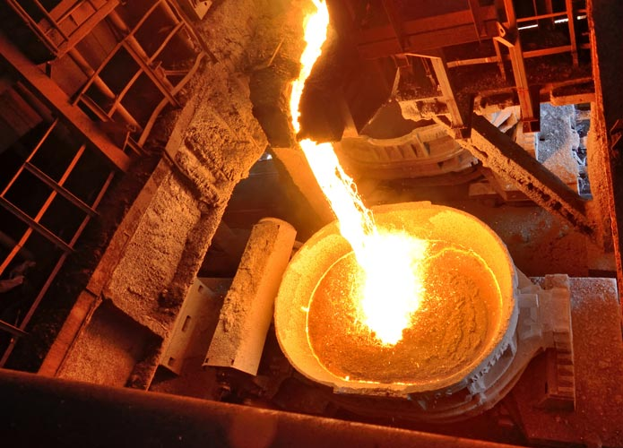 molten steel in a hot and humid environment